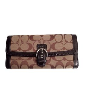 COACH sig c patent leather brown checkbook wallet